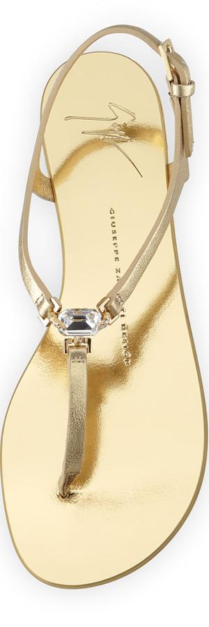 Giuseppe Zanotti Metallic Leather T-Strap Sandal