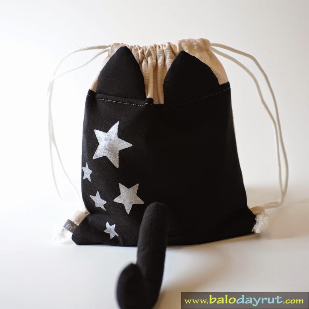 Ba lô dây rút đuôi mèo đen đáng yêu