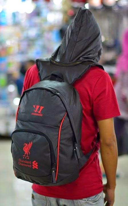Tas Sekolah Motif Sepak Bola Backpack Hoodie Bahan Kulit