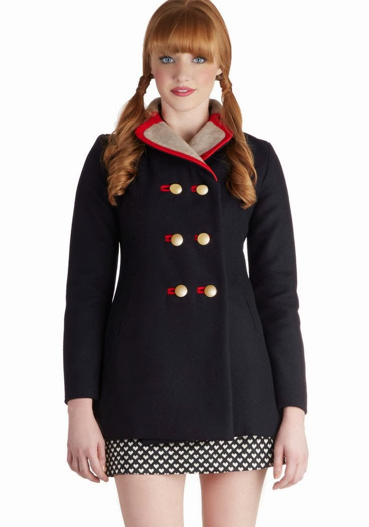 Lauren Moffatt, Lauren Moffatt coat, Cheerful Catch Up coat, designer coat, winter coat, nautical coat, Modcloth coat
