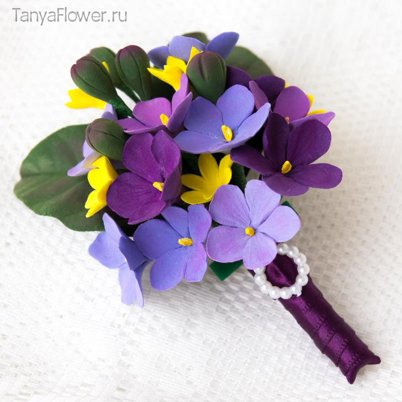 брошка с цветами из полимерной глины