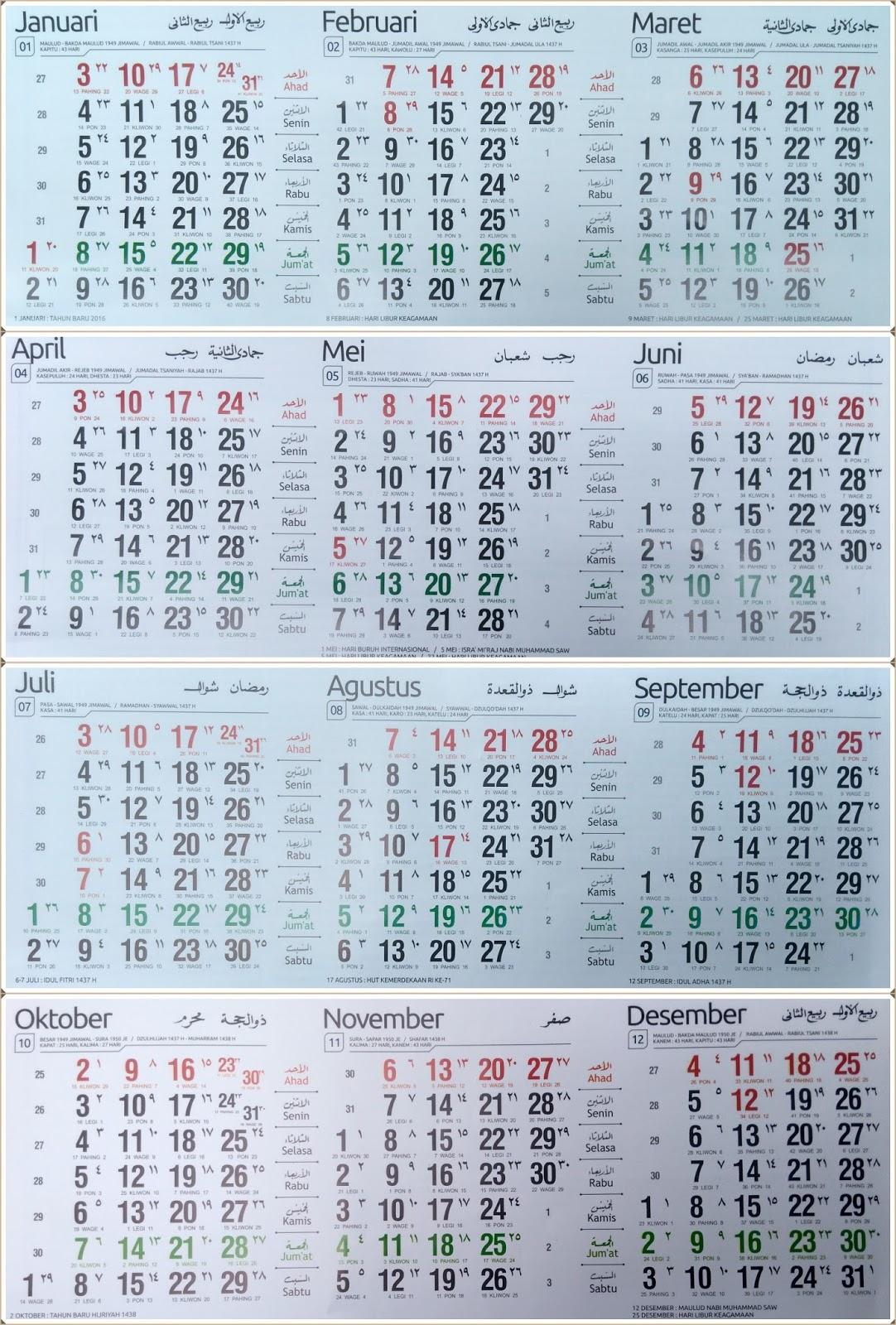 Kalender Indonesia 2016 + Hari Libur Nasional dan Cuti Bersama ...