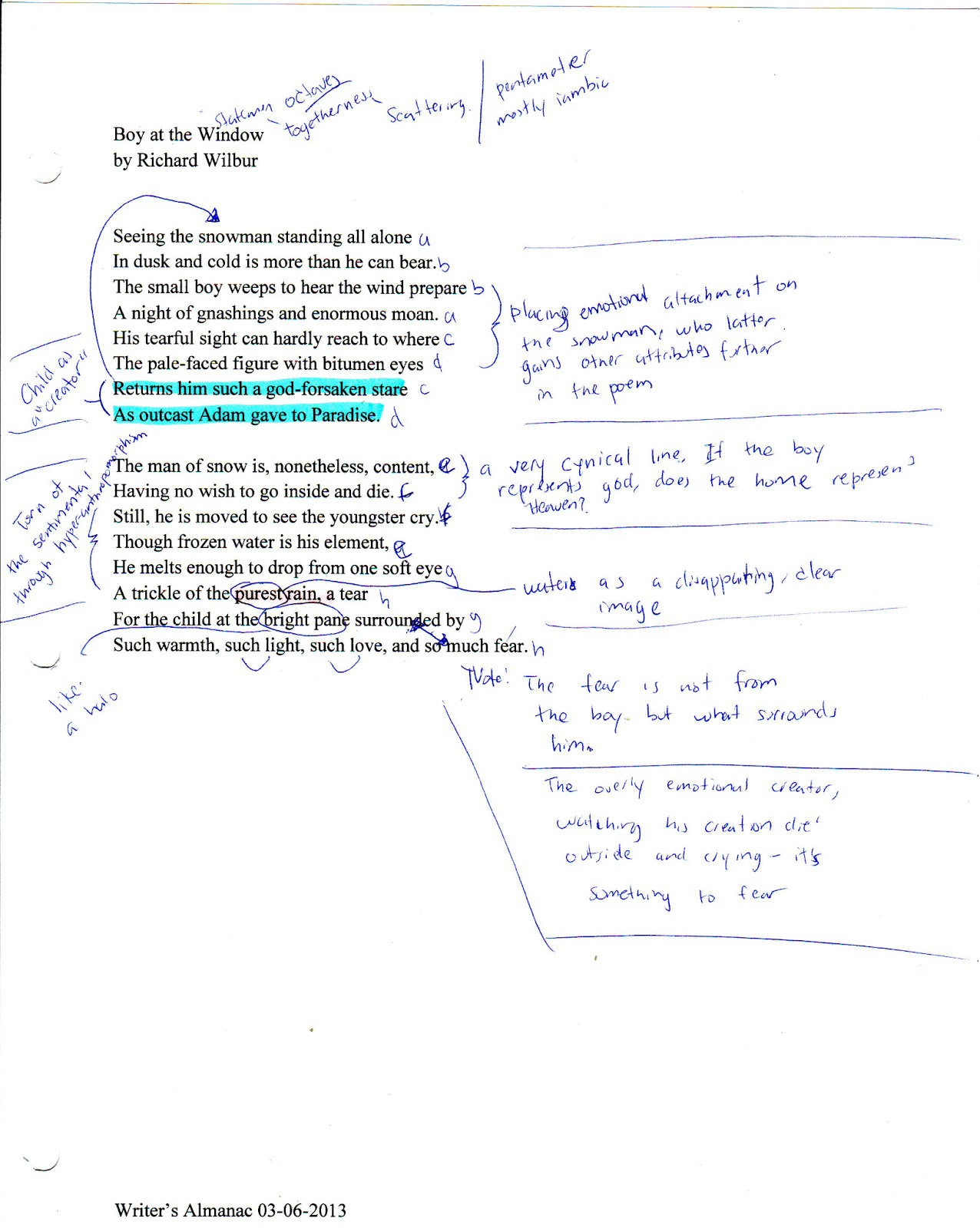 analysis of the writer by richard wilbur Ap english literature and composition 2016 scoring guidelines wwwcollegeboardorg question 1: richard wilbur, juggler the score should reflect the quality of the essay as a whole its these essays offer a persuasive analysis of wilbur's use of poetic elements to convey.