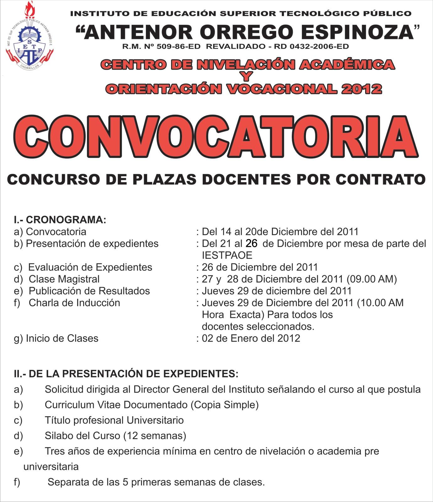 Instituto p blico antenor orrego espinoza convocatoria for Convocatoria de plazas docentes 2016