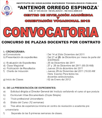 Instituto p blico antenor orrego espinoza convocatoria for Convocatoria plazas docentes