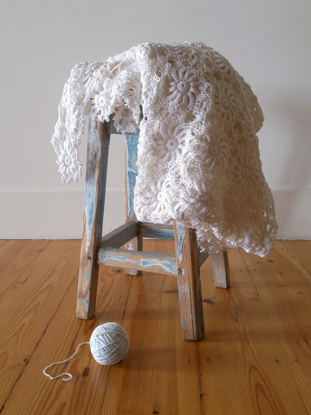 ByHaafner, crochet, vintage blanket, white, lace