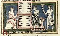 Medieval illustration of tabula players from the 13th century Carmina Burana.