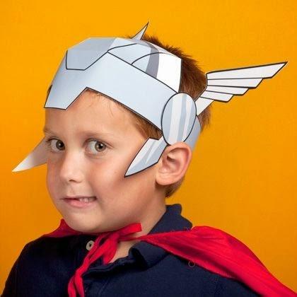 Casco de Thor para imprimir gratis. Juguetes de papel.
