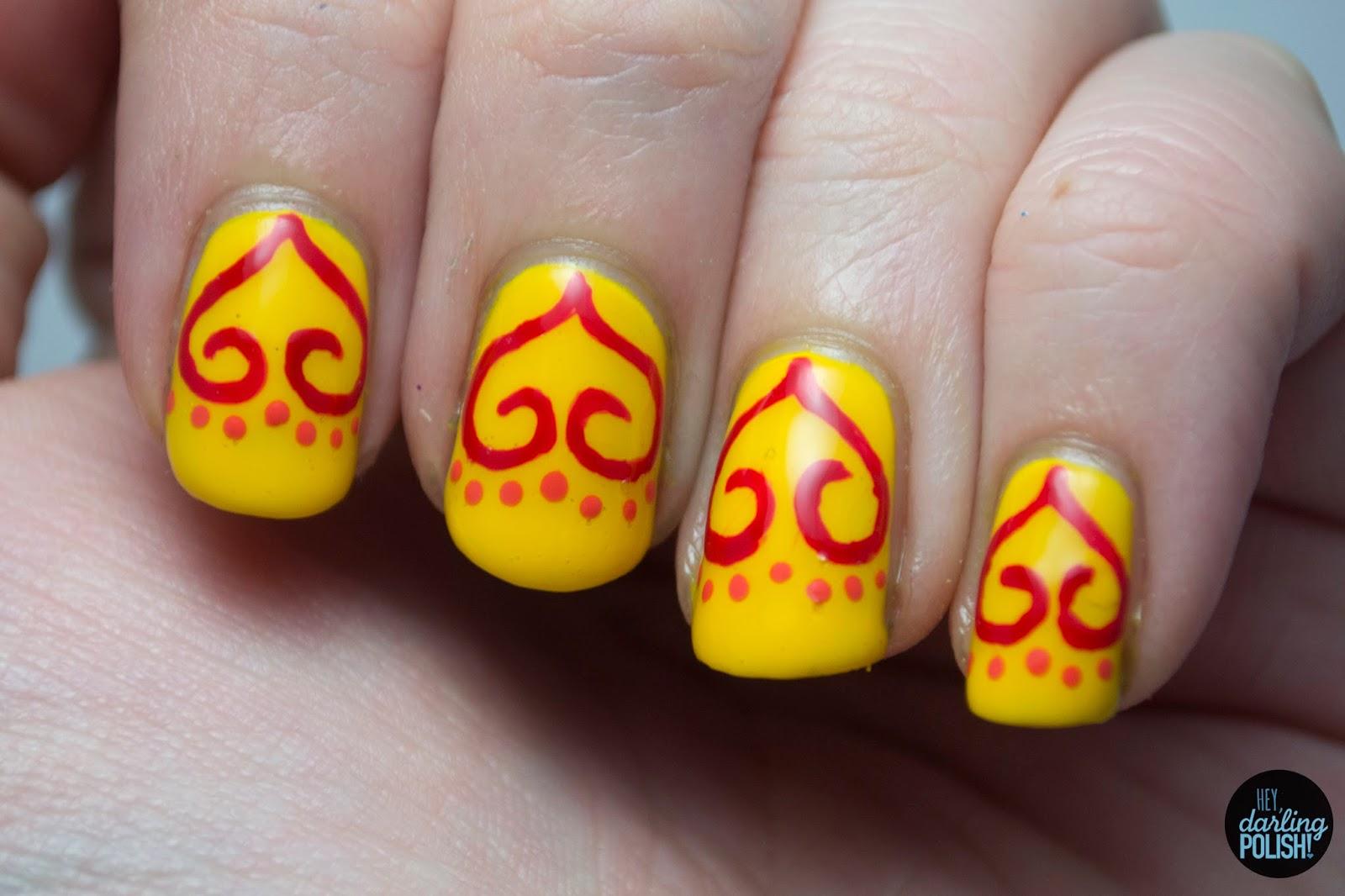 nails, nail polish, polish, nail art, yellow, red, orange, hey darling polish, tri polish challenge, tpc