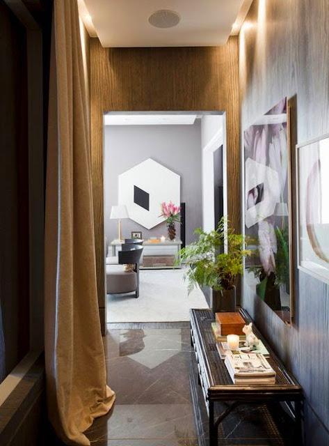 transitional modern hallway