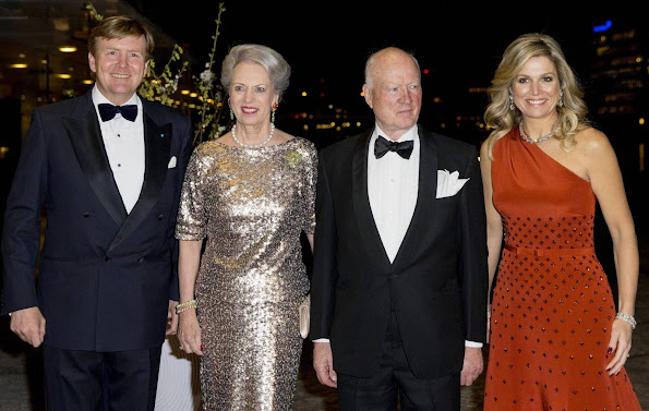Princess Benedikte and Prince Richard of Denmark attend the return arrangement offered by King Willem-Alexander and Queen Maxima of the Netherlands to the Queen of Denmark at Black Diamond in Copenhagen