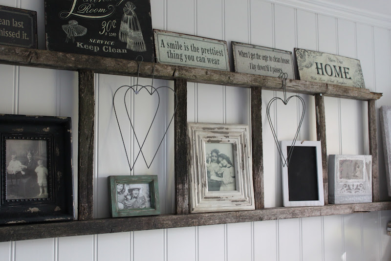 Use an old ladder as an interesting wall shelf. from Mias Interior title=