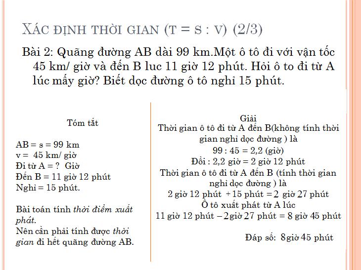 Các bài toán về chuyển động đều - toán lớp 5