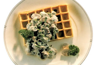 Potato waffle topped with a vegetarian mushroom fricassee