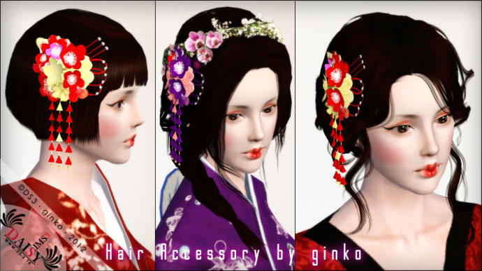 My Sims 3 Blog Flower Hair Accessories By Ginko