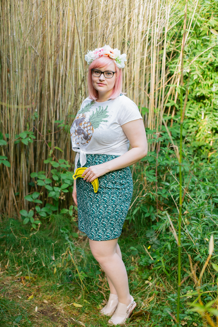 girls with glasses, 2020 opticians, Scottish blogger, peach hair DIY, blogger favourite hairstyle,Aberdeen blogger, Claire's accessories flower crown, H&M palm tree, Kimberley Festival, Clarks cut out boots, banana bunting