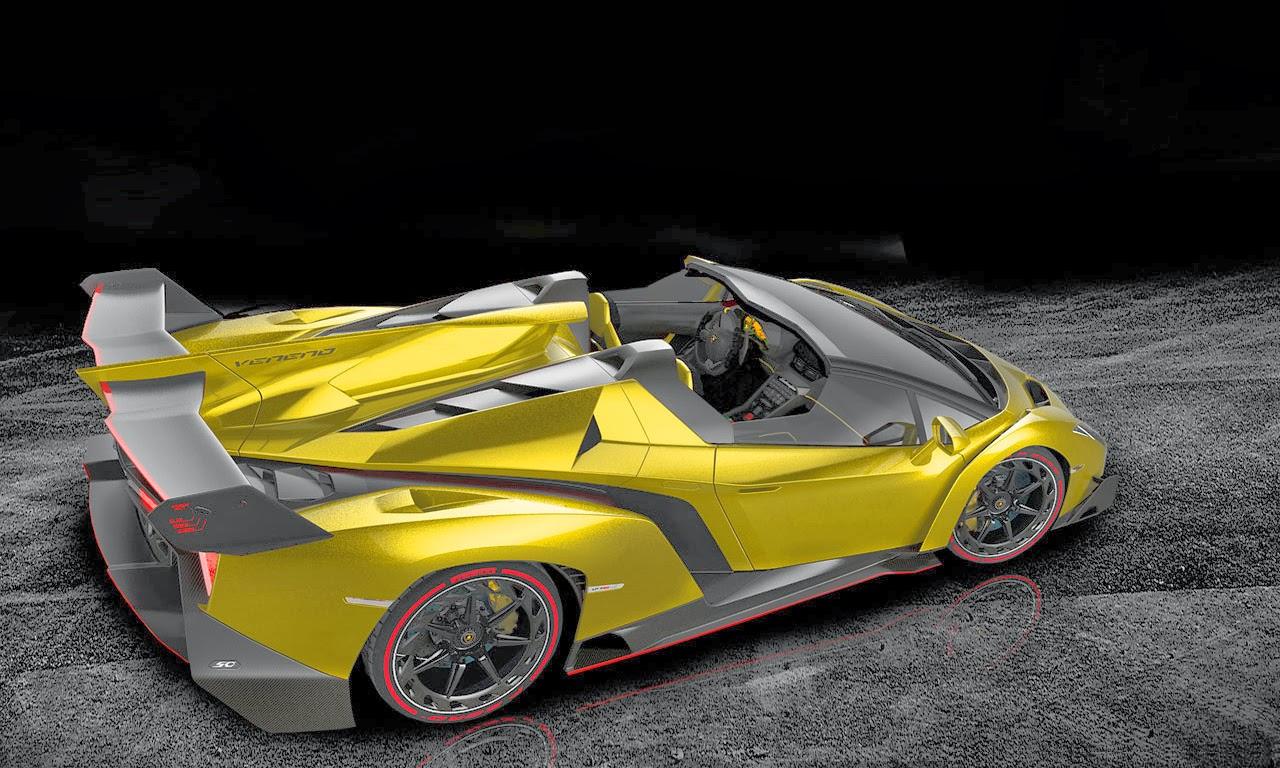 Mobil Sport Lamborghini Veneno Side Back Yellow