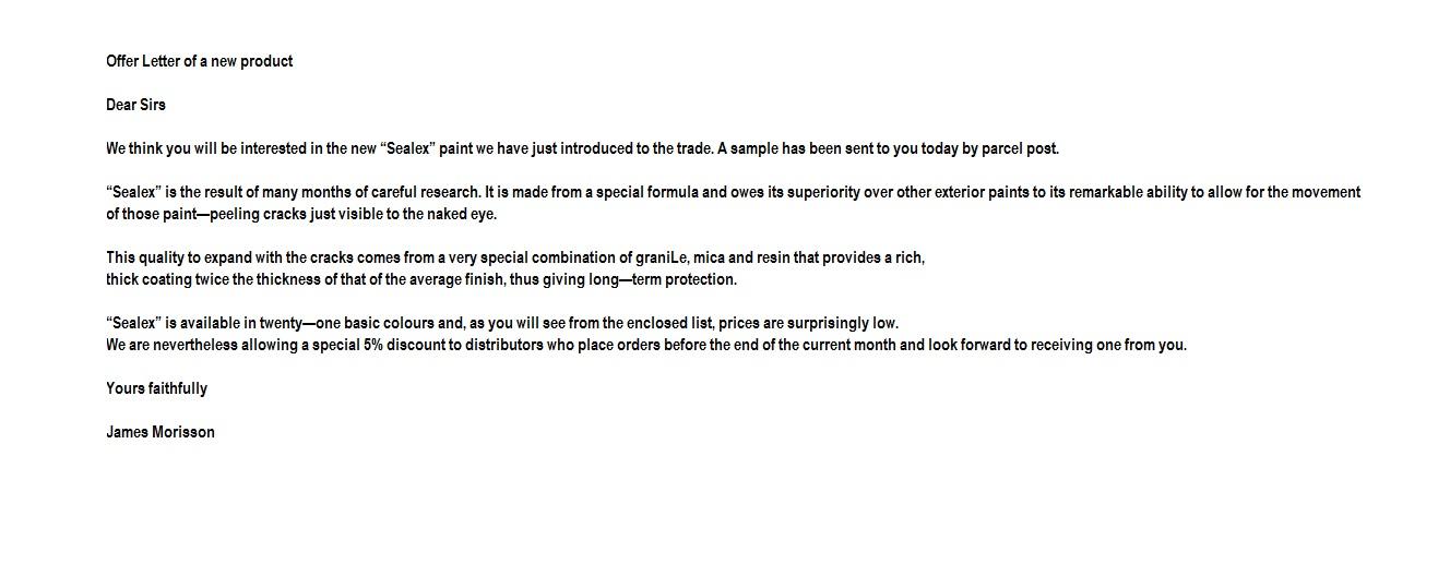 offer letter format – Sample Product Proposal Letter