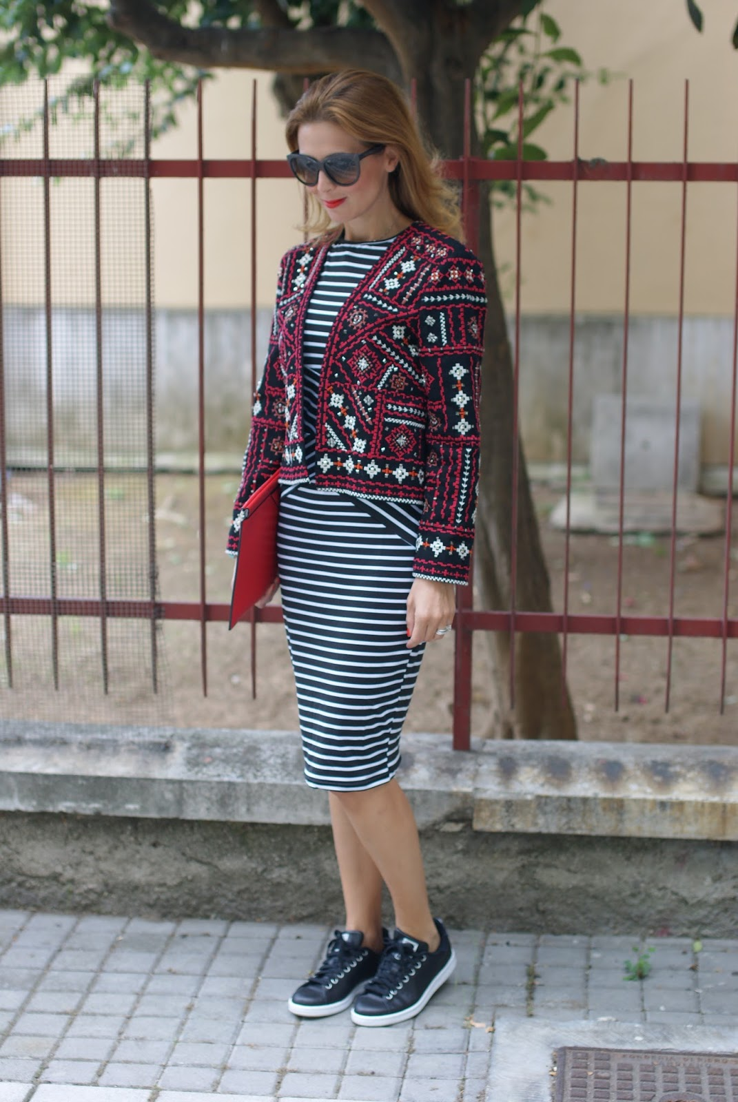 striped bodycon dress and ethnic jacket on Fashion and Cookies fashion blog