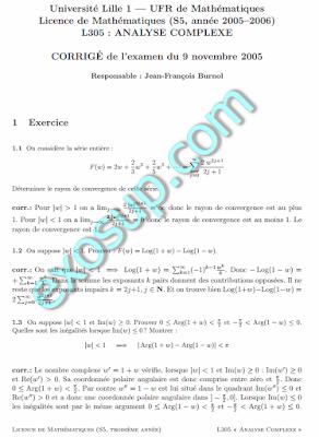 examens analyse complexe UFR + correction L3-S5