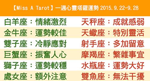 【Miss A Tarot】一週心靈塔羅運勢2015.9.22-9.28