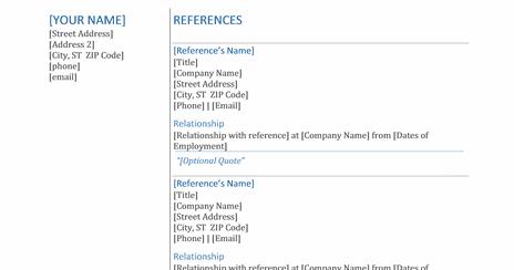 Microsoft Office 365 sample resume templates Resume references Word – References Template Word