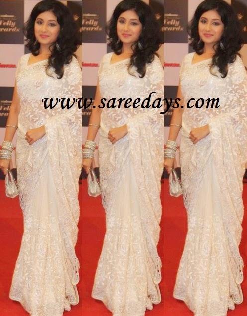 Latest Saree Designs: paridhi sharma in white embroidered ...