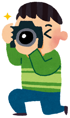 カメラ撮影のイラスト「カメラ小僧」
