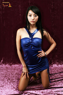 Seo You Jin Korean Sexy Model hot blue mini robe 8