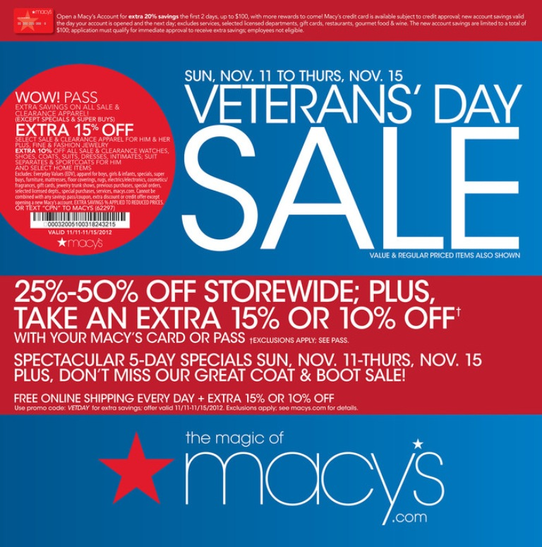 One day sale macy's coupon 10 off