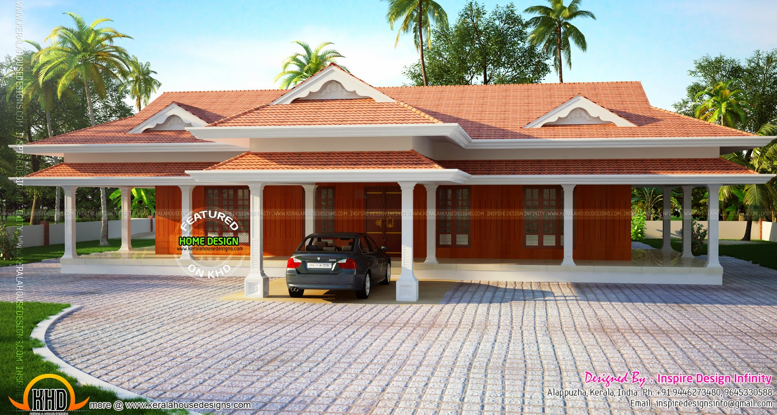 Beautiful luxurious one storied house kerala home design for Kerala traditional home plans with photos