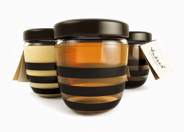 Embalagem de mel que assemelha com abelhas.