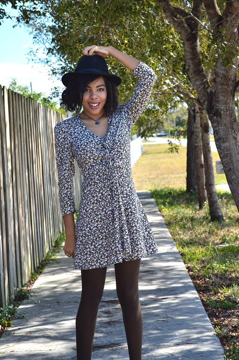 Fashion Blogger Anais Alexandre of Down to Stars wearing a Target fedora with a vintage dress