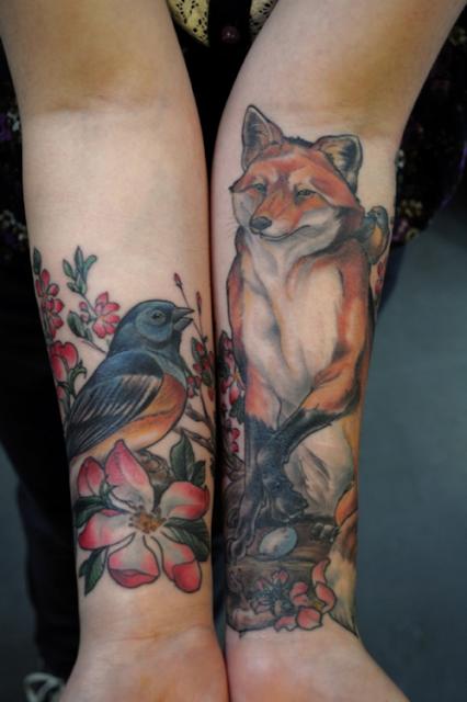 Tatuaje zorro y pajarito