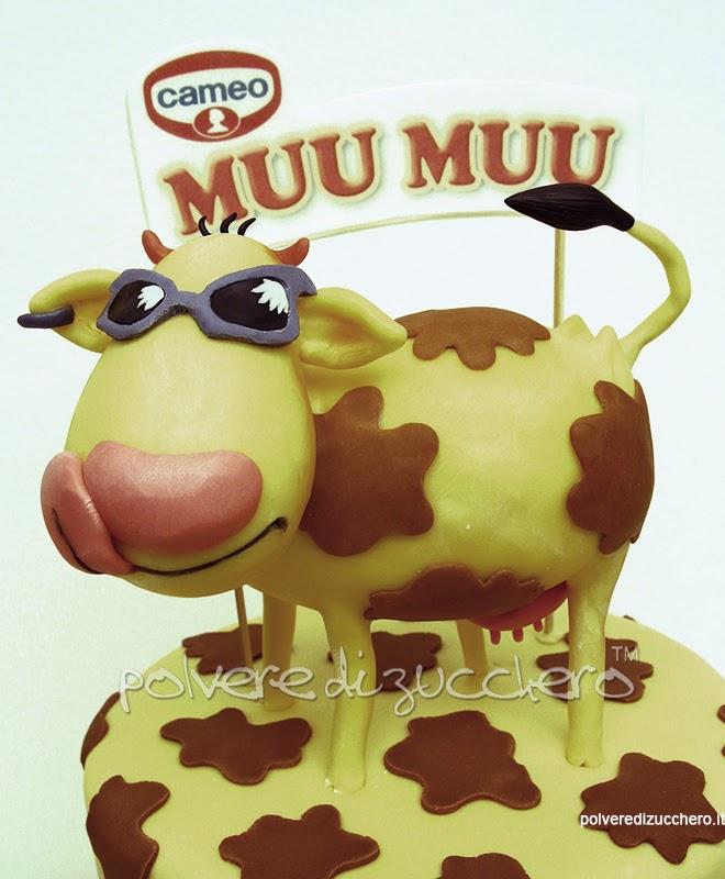torta decorata vendita pasta di zucchero mucca muu muu cameo polvere di zucchero #auguriMuuMuuXAIL