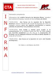 C.T.A. INFORMA CRÉDITO HORARIO ANTONIO PÉREZ, ENERO 2018