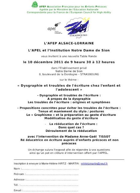conférence dysgraphie Strasbourg College apprentissage écriture