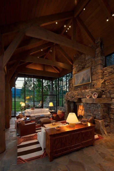 World of architecture 30 rustic chalet interior design ideas for Rustic living room interior design