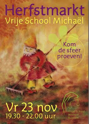 Flyer voorzijde - voor de Herfstmarkt van Vrije School Michael te Bussum