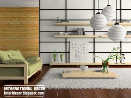 Japanese interior design, living room Japanese style
