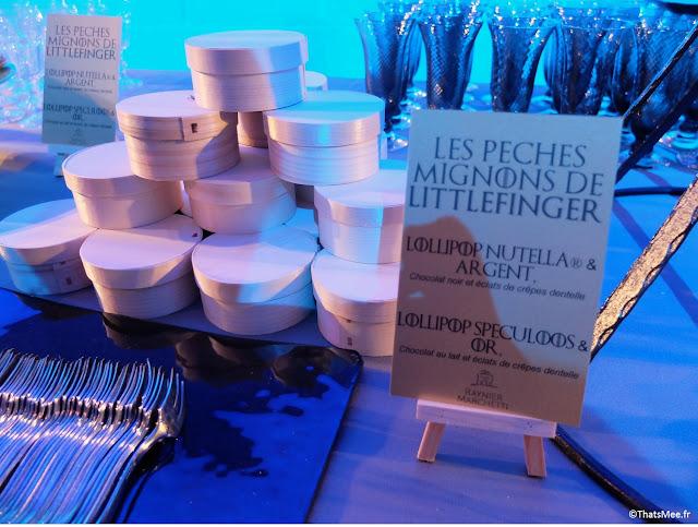 Les pechés mignons de Littlefinger buffet catering expo Games of thrones Paris carrousel Louvre