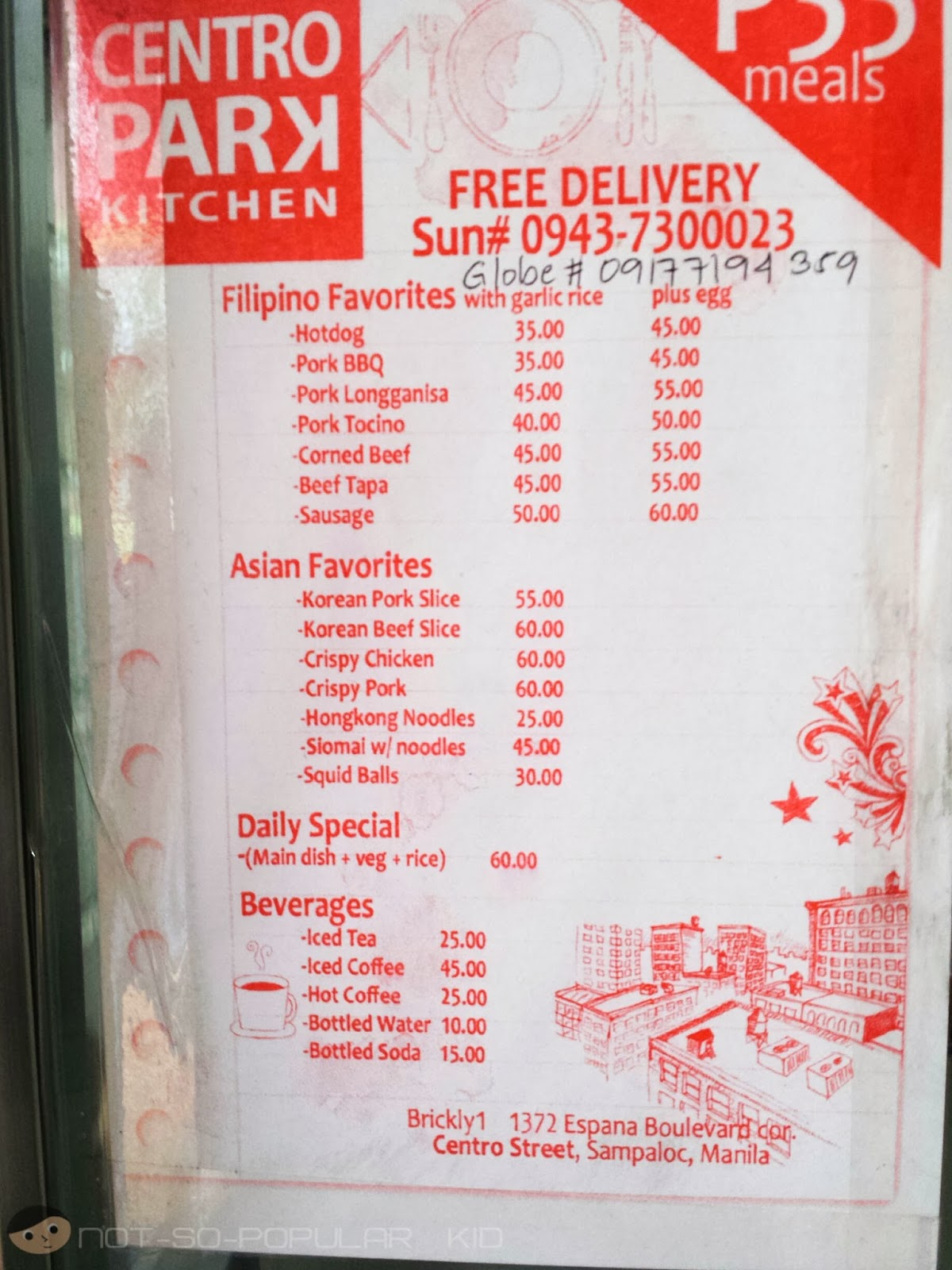 Centro Park Kitchen Menu and Delivery Contact No.