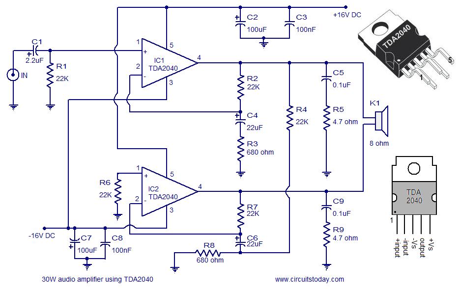Tda2040 Based A 30 Watt Audio Amplifier Circuit