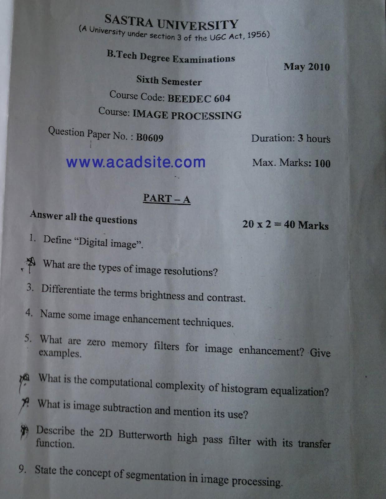 Question Paper for ECE 6th SEM Digital Image Processing - 2016 2017 ...