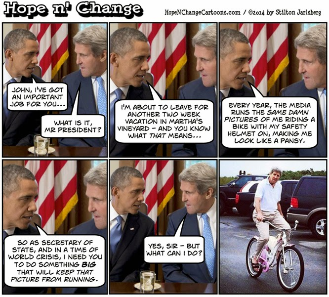 obama, obama jokes, kerry, bicycle, bike, vacation, hope n' change, hope and change, stilton jarlsberg, political, conservative, pink