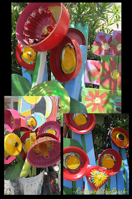 photo of: bright flowers, Upcycled flower sculptures, kitchen recycled pans into Art,