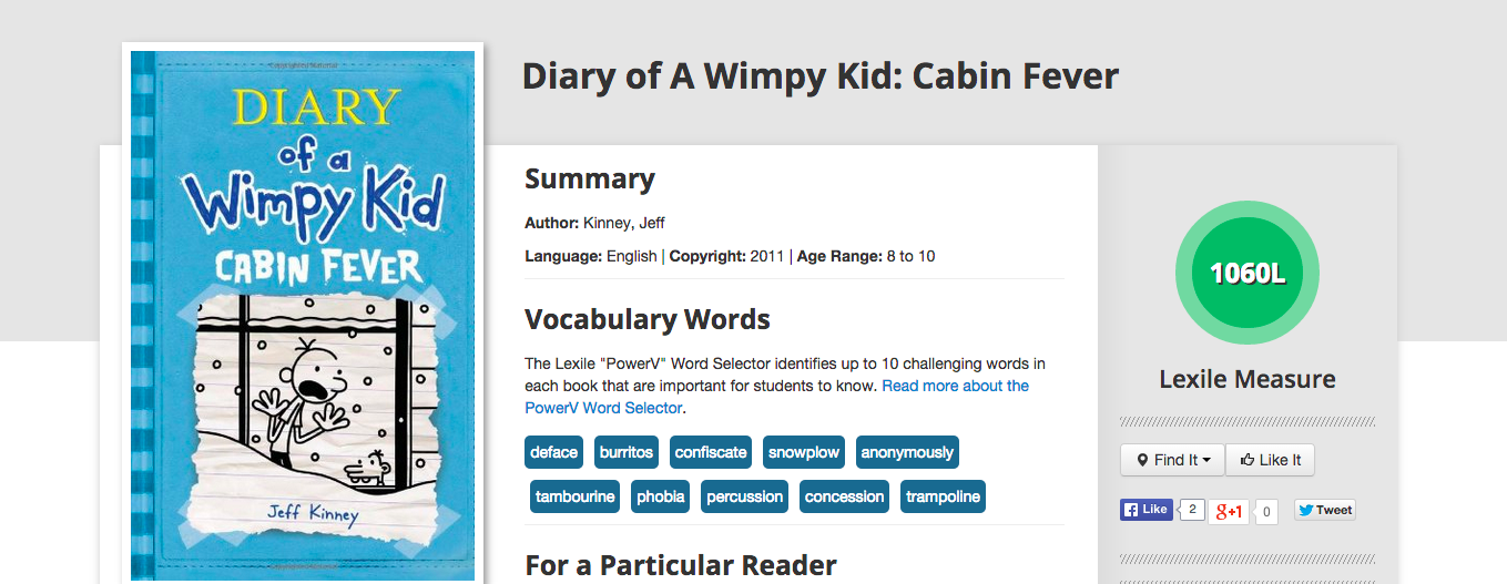 Lexile Score Of Diary Of A Wimpy Kid