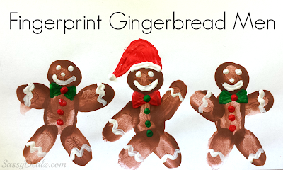 christmas fingerprint craft for kids gingerbread men