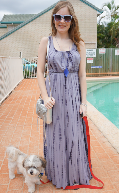 Away From Blue Poolside outfit Grey tie dye maxi dress RM mini MAC cute adopted Shih Tzu