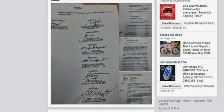 bukti surat pemecatan prabowo subianto